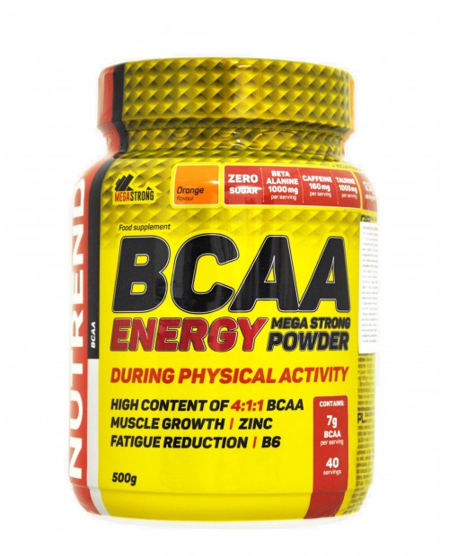 Nutrend BCAA ENERGY Mega Strong Powder 500 grammi