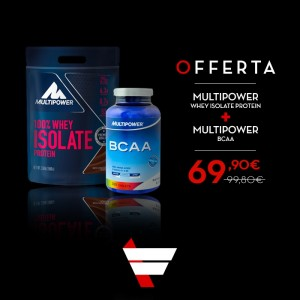 Multipower 100% Whey Isolate Protein 1590 grammi + BCAA Tablets 300 compresse