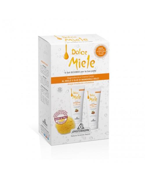 Specchiasol Dolce Miele Cofanetto con Bagnodoccia e Crema Corpo al Miele e Olio di Mandorle Dolci Ecobio