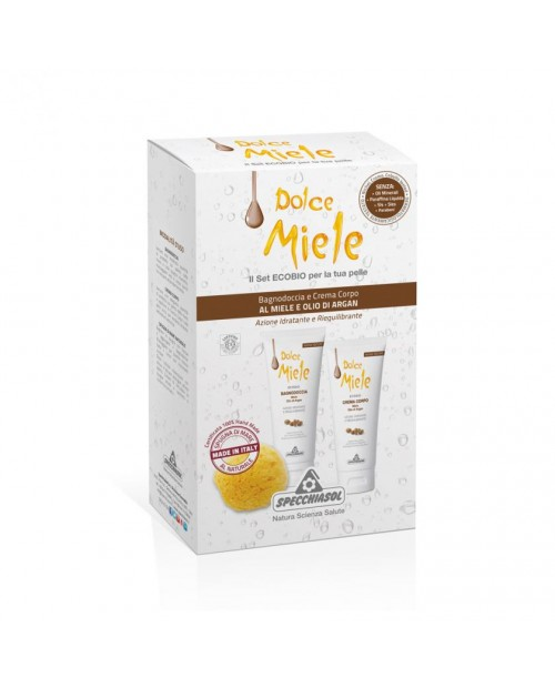 Specchiasol Dolce Miele Cofanetto con Bagnodoccia e Crema Corpo al Miele e Olio di Argan Ecobio